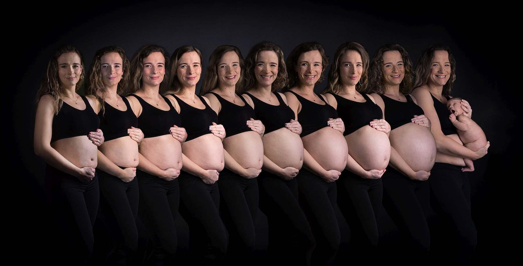 sesja ciążowa rosnący brzuszek w studio